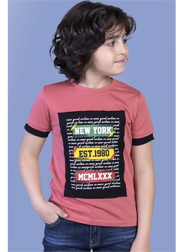Toontoy Kids Toontoy Erkek Çocuk Kolları Garni Detaylı Yazı Baskılı Tişört Mercan